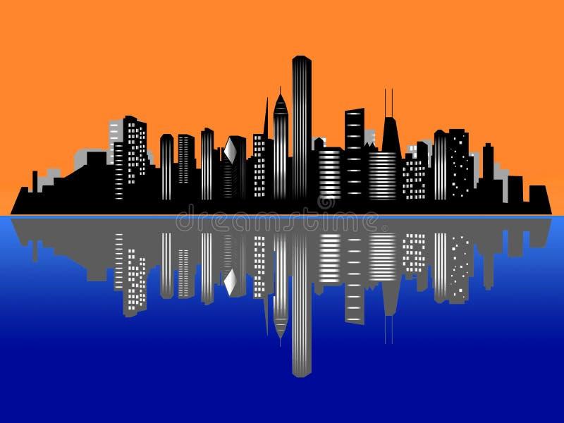 Chicago-Sonnenuntergangstadt-Skyline vektor abbildung