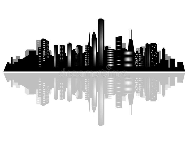 chicago stadshorisont royaltyfri illustrationer