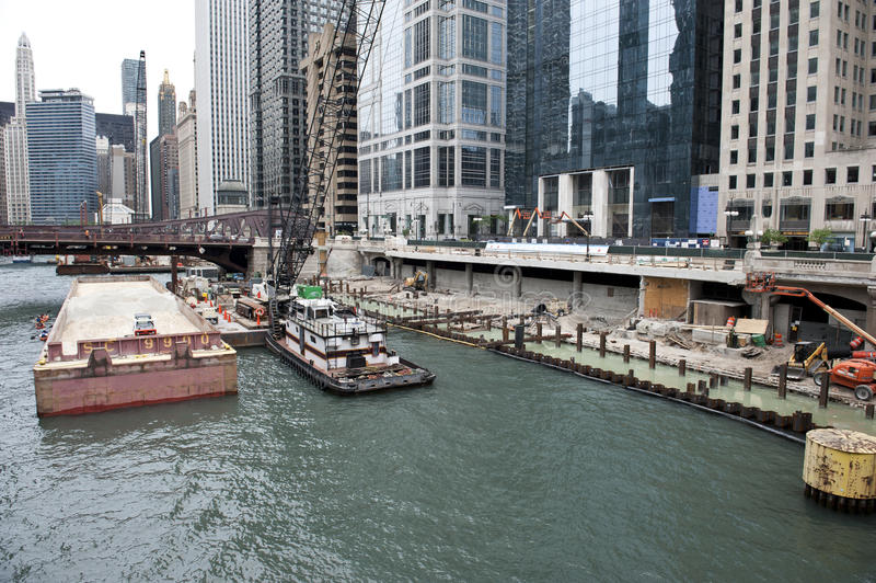 Chicago-Stadt gesehen vom Fluss stockfoto