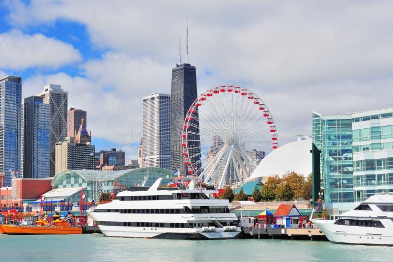Chicago-Stadt im Stadtzentrum gelegen lizenzfreie stockbilder