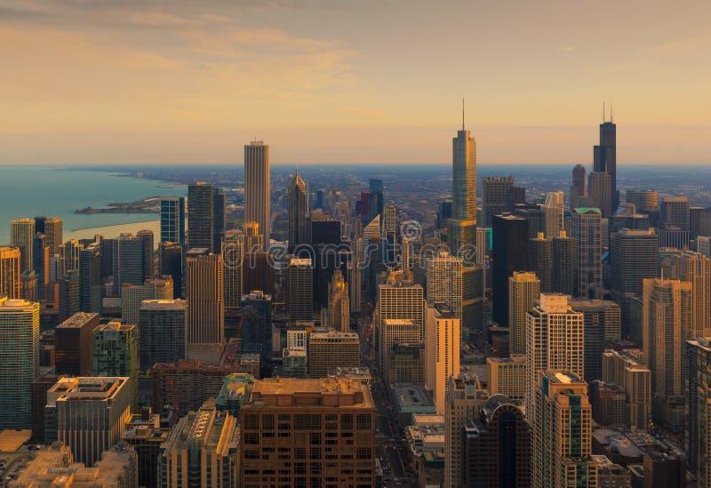 Chicago-Stadt und Michigan See, Chicago, Illinois, USA stockfotografie