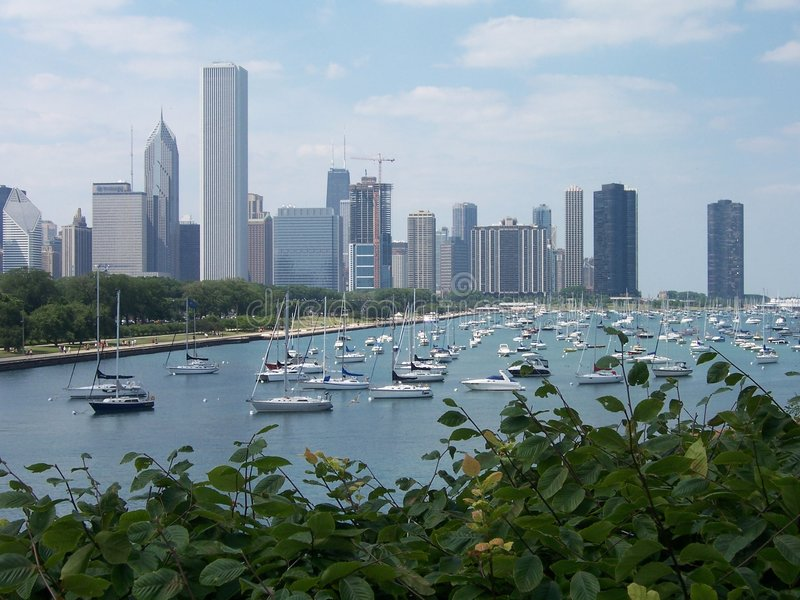 Chicago-Stadtzentrum und Michigansee lizenzfreie stockfotos