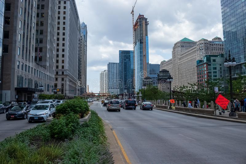 Chicago street sign on Wacker Dr looking west royalty free stock photos