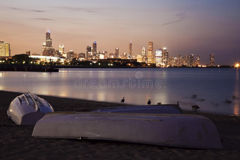 Download Chicago Summer Sunset From The Beach Stock Photo - Image: 26919436