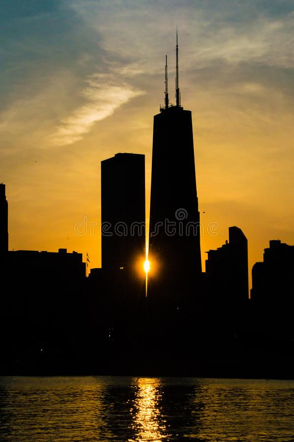 chicago sunset στοκ εικόνα