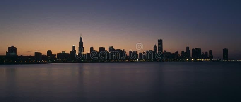 Chicago sunset stock photography