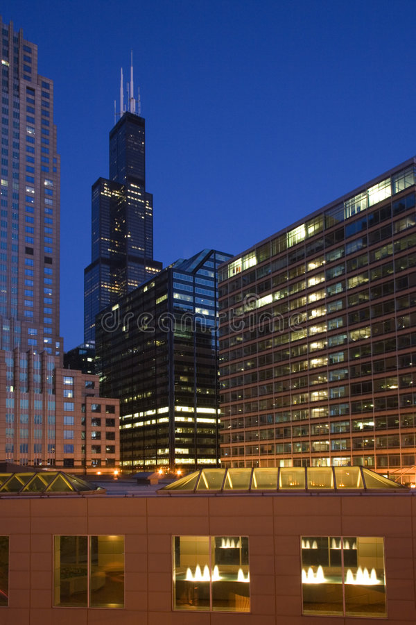 Chicago after sunset stock photos