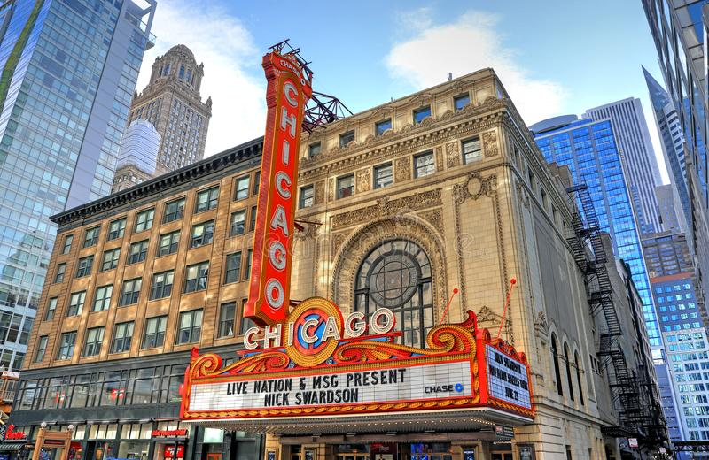 Chicago Theatre in Chicago, Illinois royalty free stock photo