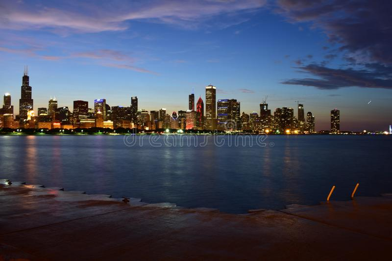 Chicago, Illinois - USA - July 1, 2018: Chicago Skyline from the East. Chicago, the third-largest city in the United States, is home to 1,315 completed high royalty free stock image