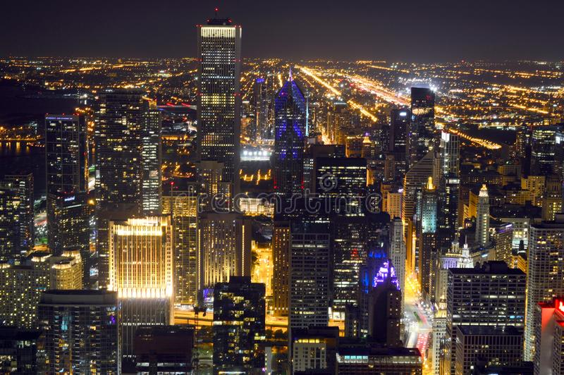 Chicago, Illinois - USA - August 20, 2016: Chicago skyline view at night stock photography