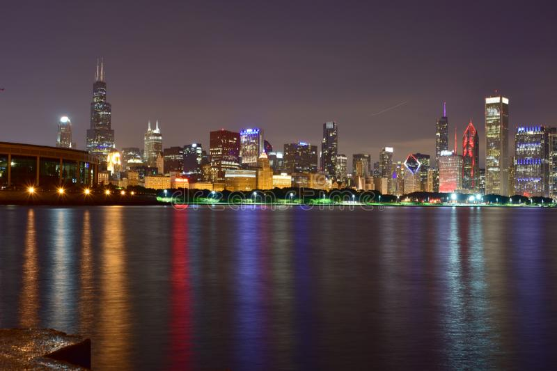 Chicago, Illinois - USA - July 1, 2018: The Chicago Skyline at Night stock image