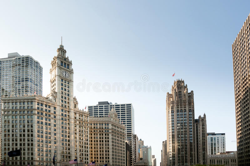 Chicago Tribune Tower and Wrigley building stock photography