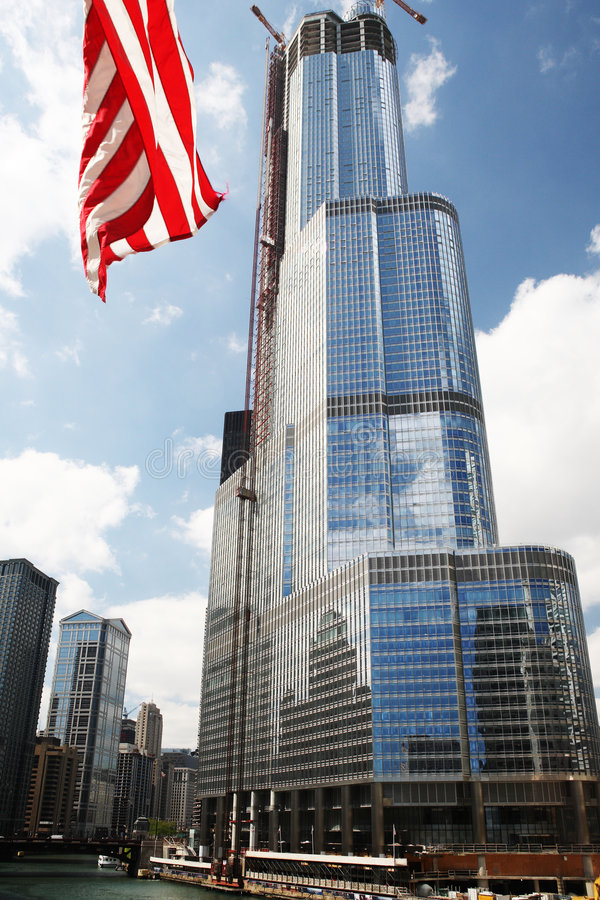 Chicago Trump Tower. Chicago Trump Tower during construction stock photo