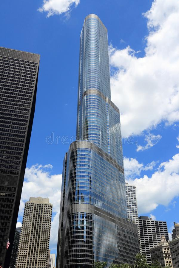 Chicago Trump Tower. CHICAGO, USA - JUNE 28, 2013: Trump International Hotel & Tower in Chicago. It is 423m tall and was finished in 2009. As of 2013 it is 2nd stock photography