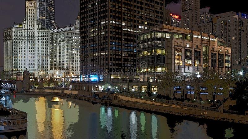 Chicago in un manifesto immagini stock libere da diritti