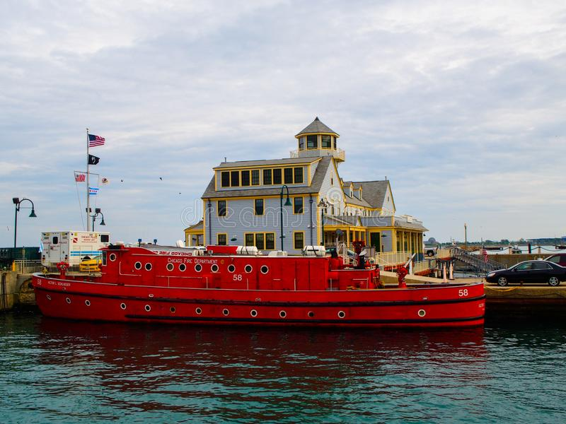 Chicago United States -  Chicago Marine Safety Station and Chicago Fire Department boat. Chicago United States - May 14, 2015 - Chicago Marine Safety Station and stock photography