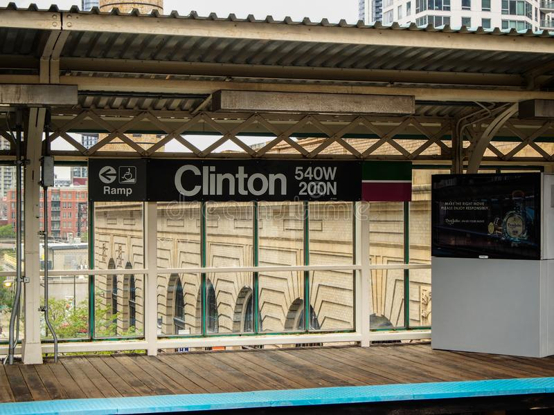 Chicago, United States -    Clinton station of the subway in Chicago - United States. Chicago, United States -   May 15, 2015 - Clinton station of the subway in royalty free stock image