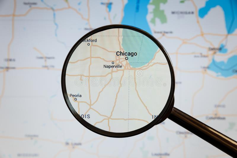 Chicago, United States. Political map. The city on the monitor screen through a magnifying glass stock photos
