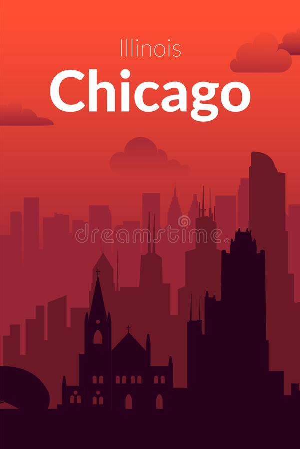 Free Chicago, USA Famous City Scape View Background. Stock Photography - 216371362
