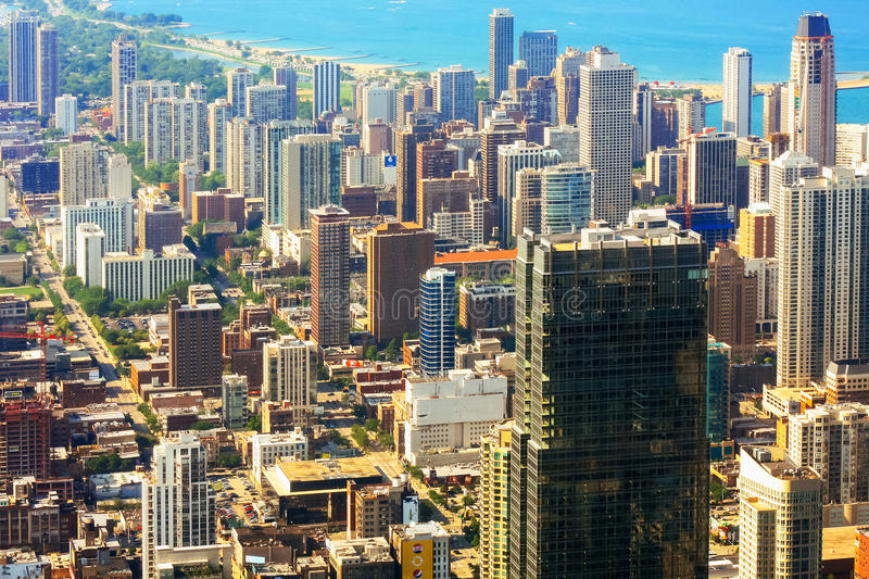 CHICAGO, USA - 20 July, 2017: aerial view of city of Chicago royalty free stock photo
