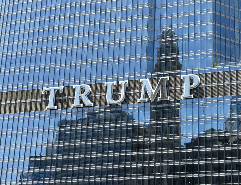 Chicago USA - Juni 04, 2018: Hotell & torn för trumf internationellt royaltyfria bilder