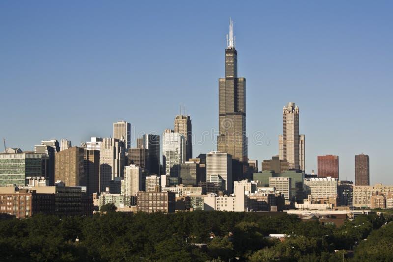 Chicago visto dalla costa Ovest immagine stock libera da diritti