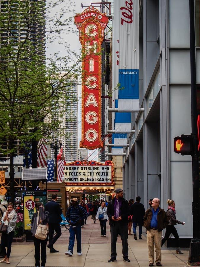 Chicago, Verenigde Staten - het Emblematische theater van Chicago in Chicago, Verenigde Staten royalty-vrije stock afbeelding