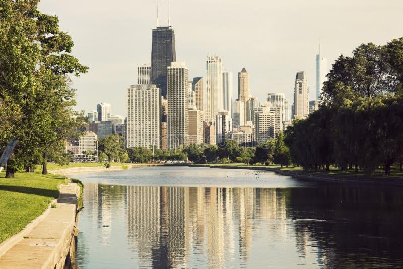 chicago widok w centrum parkowy Lincoln zdjęcia stock