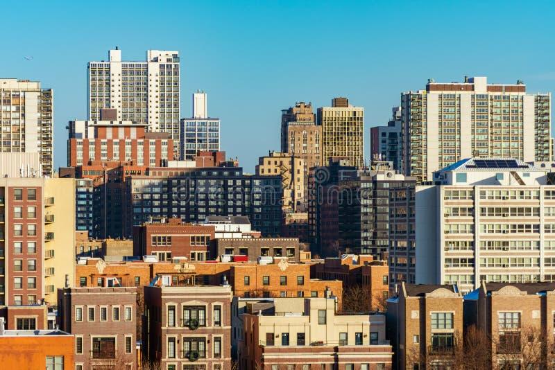 Chicagowska linia horyzontu scena w Starych Gold Coast sąsiedztwach i miasteczku obrazy royalty free