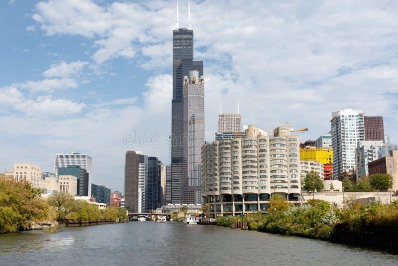 Chicagowska linia horyzontu z Przypala wierza obraz stock