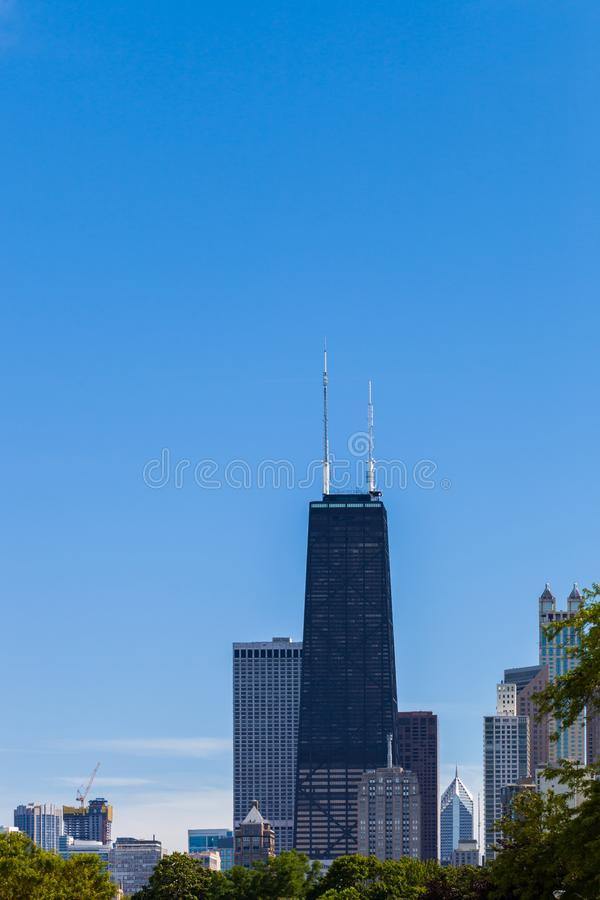 Chicagowska linia horyzontu z widokiem John Hancock otaczanie i centrum obrazy royalty free