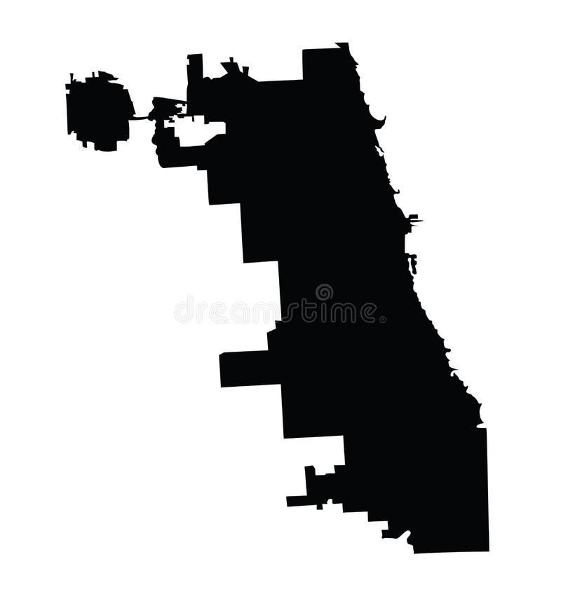 Chicagowska miasto mapy sylwetka, wektorowa mapa Illinois stanu miasto Chicago Zlani stany Ameryka miasteczko ilustracji