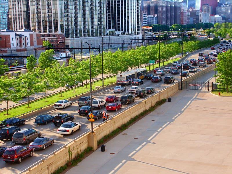 Chicagowski Jeziorny Brzeg Przejażdżki Ruch drogowy zdjęcia royalty free