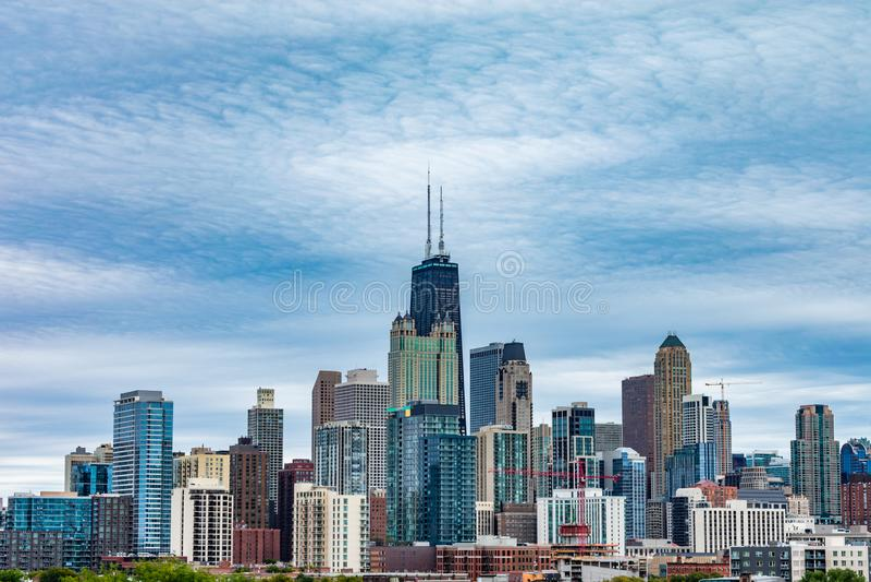 Chicagowski linia horyzontu widok od zachodu zdjęcie stock