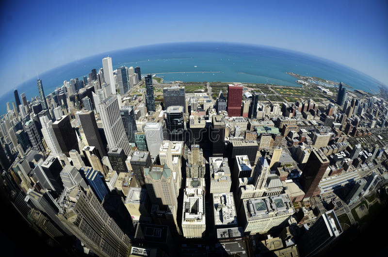 Chicagowskich W centrum budynków Fisheye Round świat obraz royalty free