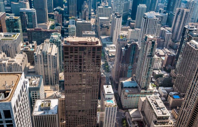 Chicagowskiej linii horyzontu odgórny widok z drapaczami chmur od John Hancock centrum, usa zdjęcie royalty free