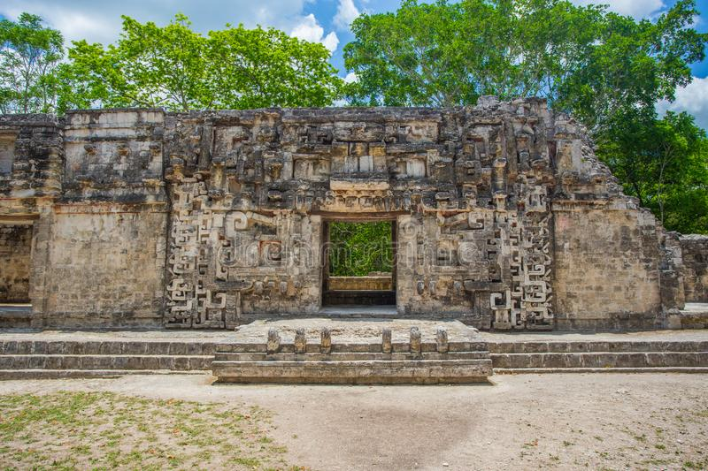 Chicanna Maya Ruins in Campeche, Yucatan Mexico. The Chicanna Maya Ruins in Campeche, Yucatan Mexico royalty free stock images