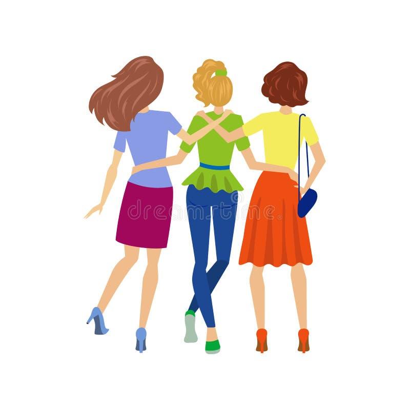 Chicas jóvenes del vector que abrazan la visión trasera libre illustration