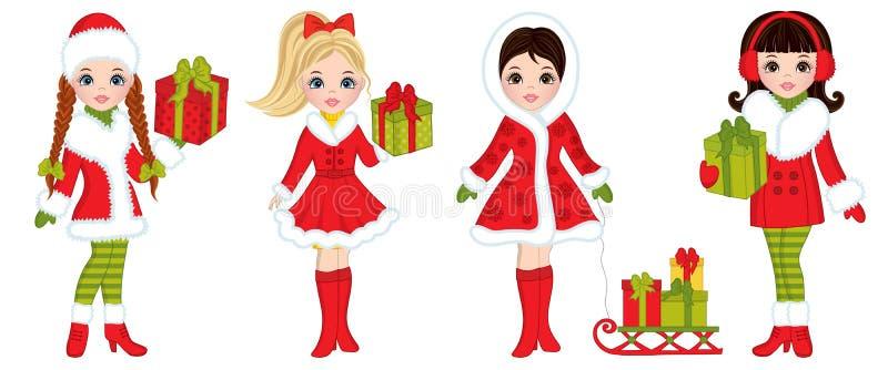 Chicas jóvenes hermosas del vector con los regalos de la Navidad stock de ilustración