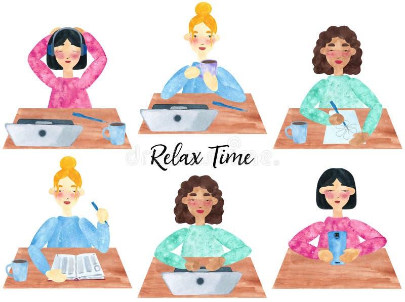 Chicas jóvenes, relajándose entre las tareas y el estudio stock de ilustración