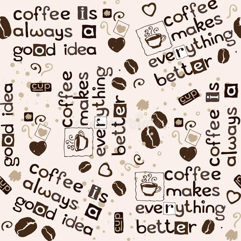 Chicchi, cuori ed iscrizione di caffè del modello con lettere senza cuciture illustrazione di stock