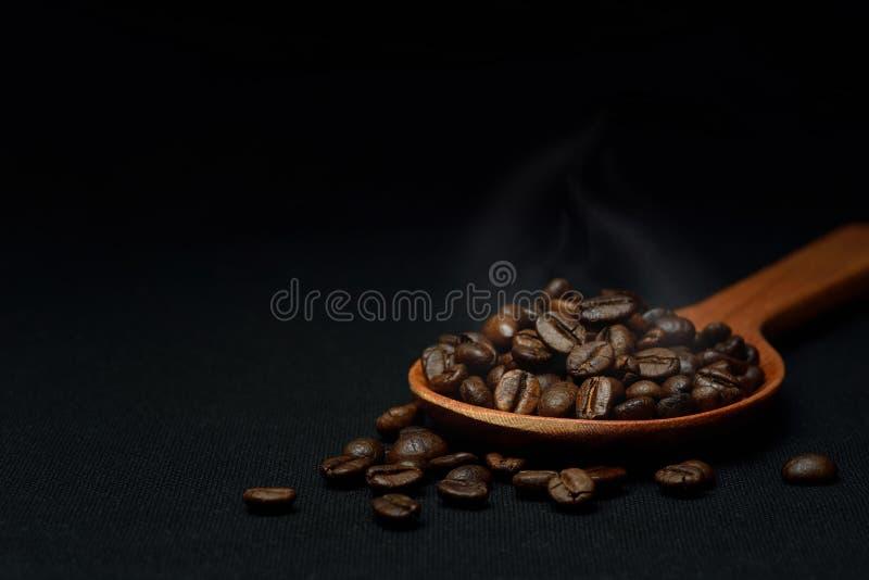 Chicchi di caffè arrostiti in cucchiaio di legno immagine stock libera da diritti