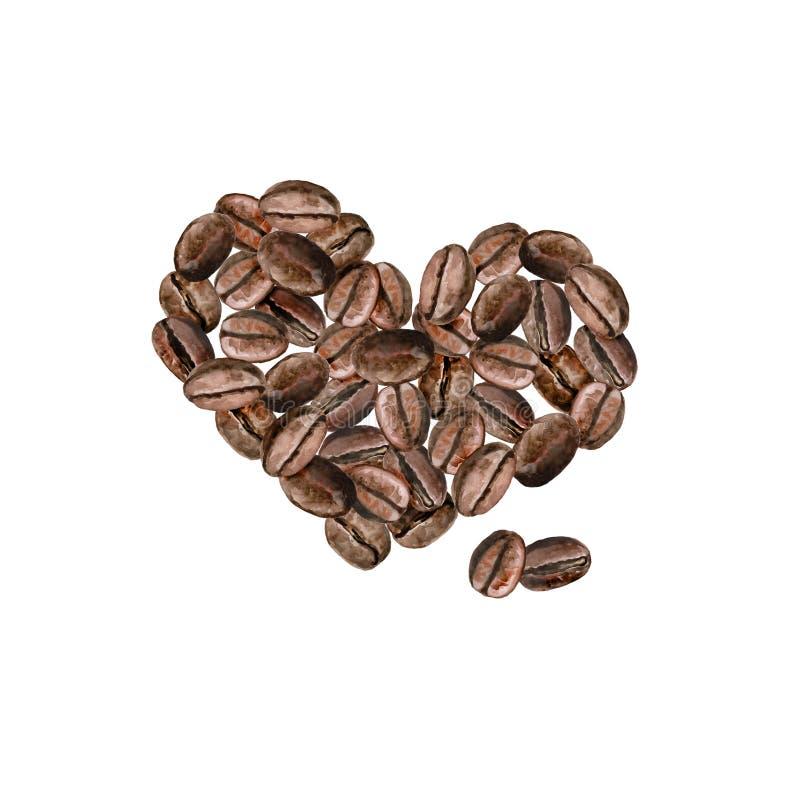 Chicchi di caffè arrostiti a forma di cuore dell'acquerello Progettazione realistica disegnata a mano illustrazione vettoriale