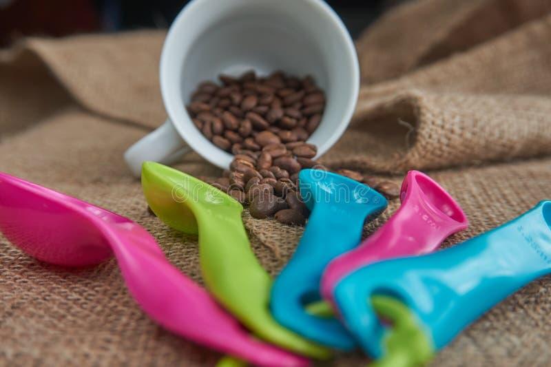 Chicchi di caffè arrostiti, tazza da caffè della porcellana, di dosatore della dose fotografie stock libere da diritti