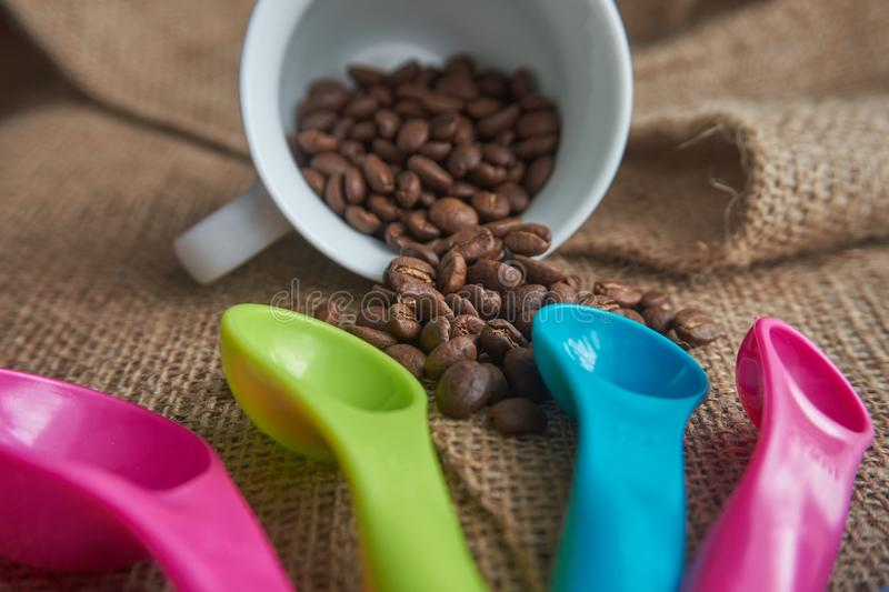 Chicchi di caffè arrostiti, tazza da caffè della porcellana, di dosatore della dose fotografia stock libera da diritti