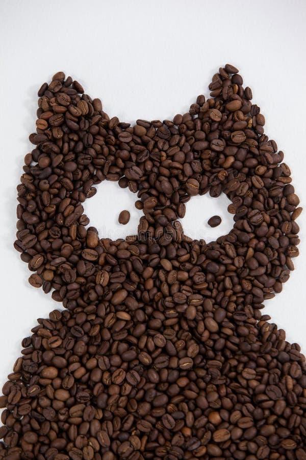 Chicchi di caffè che formano gufo immagini stock