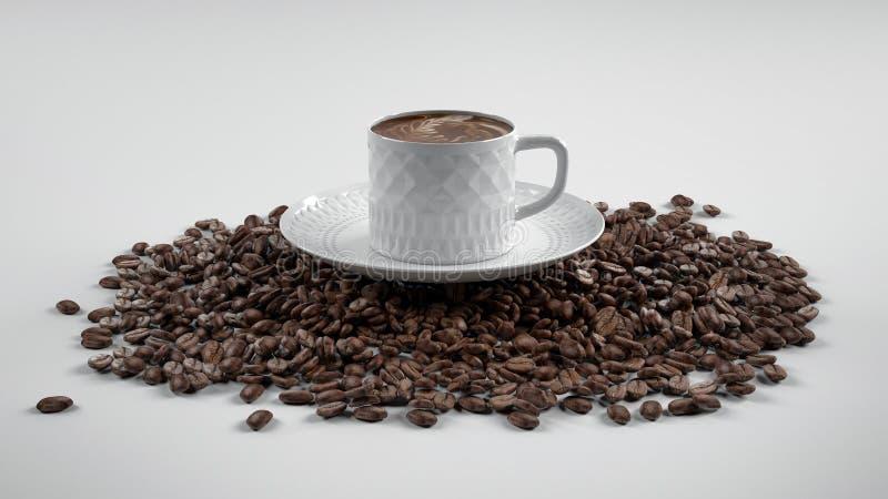 Chicchi di caffè con la tazza fotografie stock
