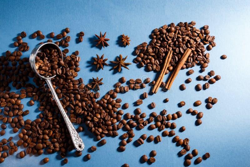 Chicchi di caffè con le spezie e una siviera immagini stock libere da diritti