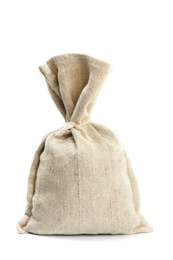 Chicchi di caffè e sacco della tela da imballaggio immagine stock libera da diritti