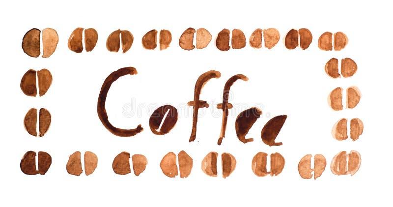 Chicchi di caffè intorno al caffè del testo royalty illustrazione gratis